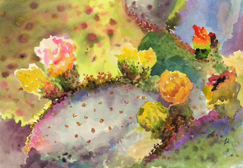 Cactus Flowers  15x20in  $150 matted orig.